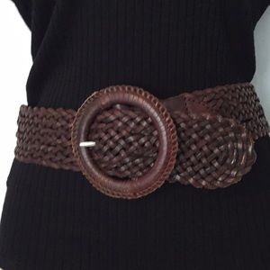"AE Outfitters woven leather 2"" wide belt brown S/M"